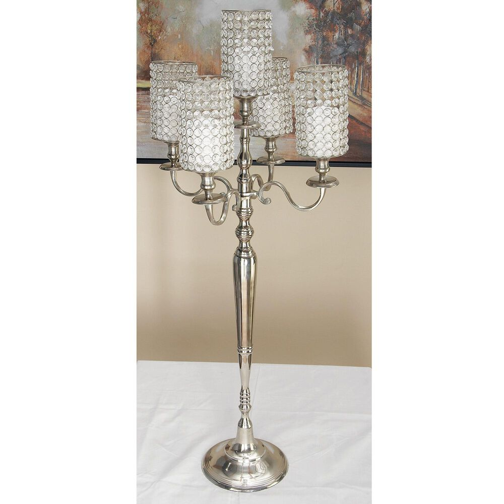 """Maple and Jade Traditional  44"""" Glam Aluminum Hurricane Lamp in Silver, , large"""
