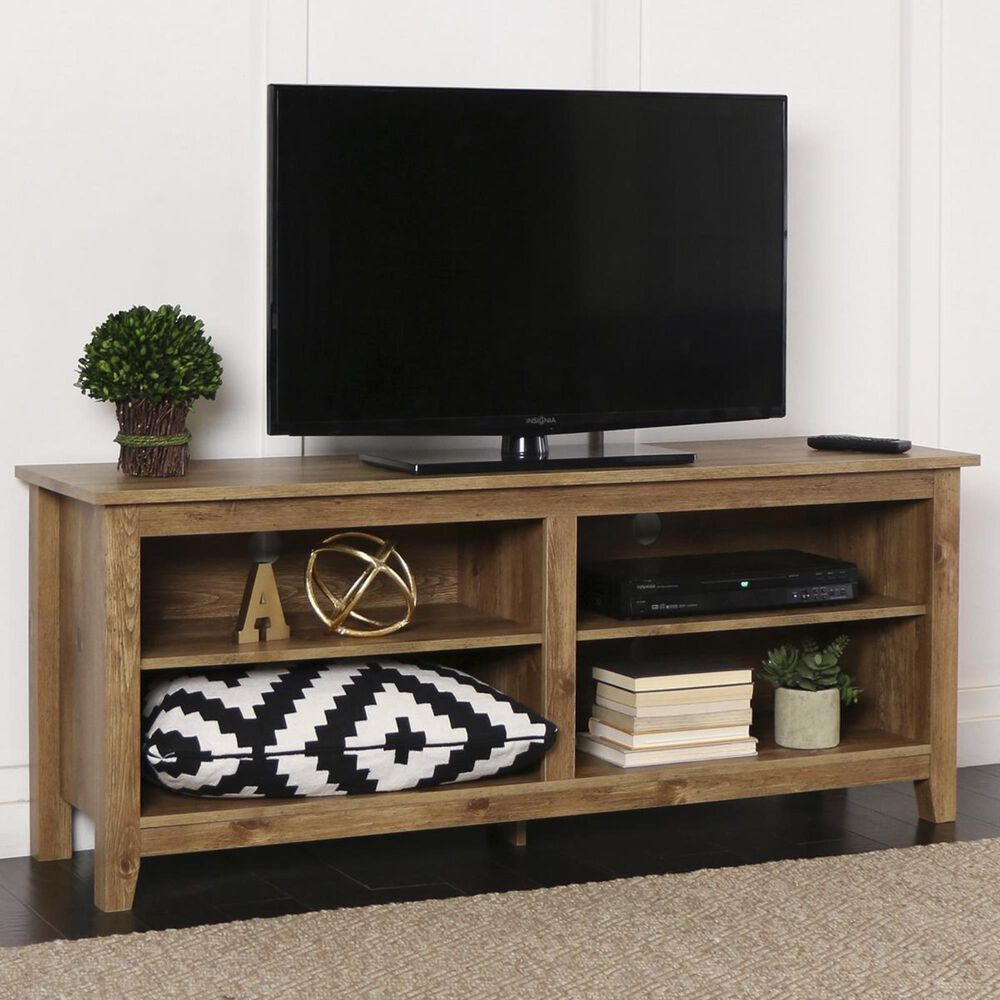 "Walker Edison 58"" Wood TV Stand in Barnwood, , large"