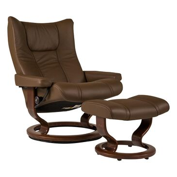 Ekornes Wing Large Leather Classic Chair and Ottoman in Paloma Chestnut , , large