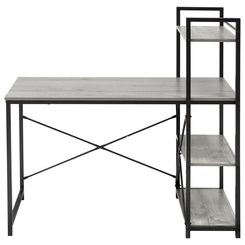 Regency Global Sourcing Niche Soho Desk with Bookshelf in Weathered Grey/Black, , large