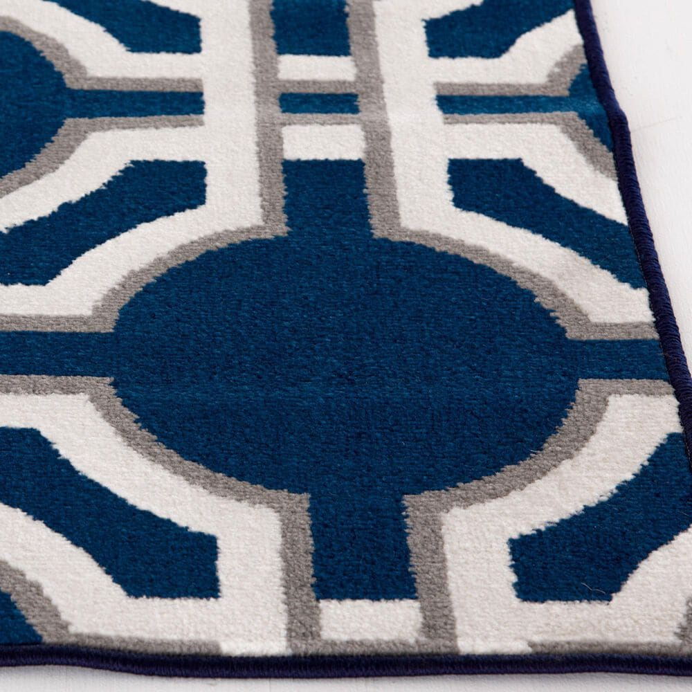 """Central Oriental Terrace Tropic Dolliver 2307PN.084 7'10"""" x 9'10"""" Sapphire and Snow Area Rug, , large"""