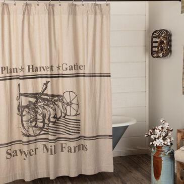 VHC Sawyer Mill Farmhouse Shower Curtain in Khaki, , large