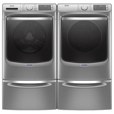 Maytag 5 Cu. Ft. Front Load Washer and 7.3 Cu. Ft. Electric Dryer Laundry Pair with Pedestal in Metallic Slate, , large