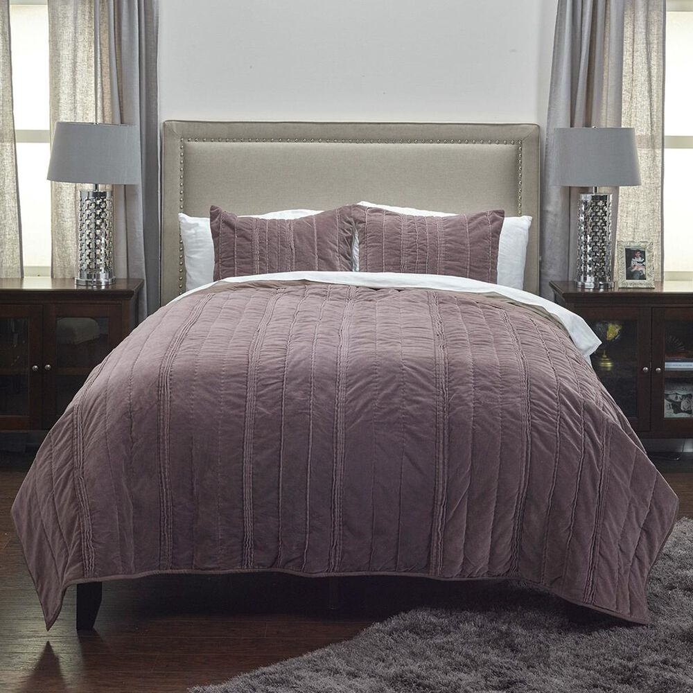 """Rizzy Home Plumcicle 90"""" x 92"""" Quilt in Purple, , large"""
