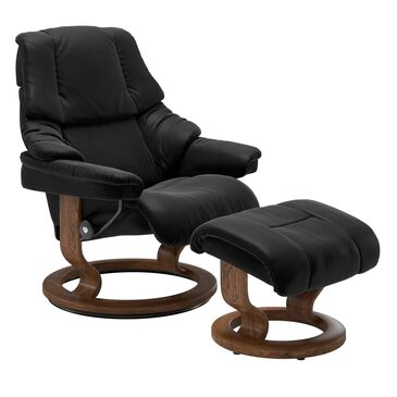 Ekornes Medium Chair and Ottoman with Teak Classic Base in Paloma Black, , large