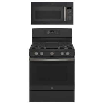 """GE Appliances 2-Piece Kitchen Package with 30"""""""" Gas Range and 1.9 Cu. Ft. Microwave Oven in Black Slate, , large"""