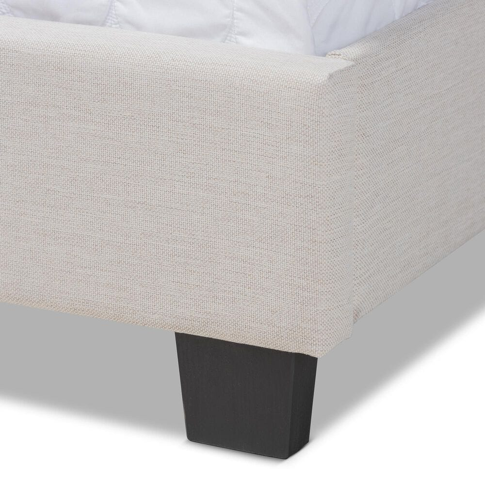 Baxton Studio Ansa Queen Upholstered Bed in Beige/Black, , large