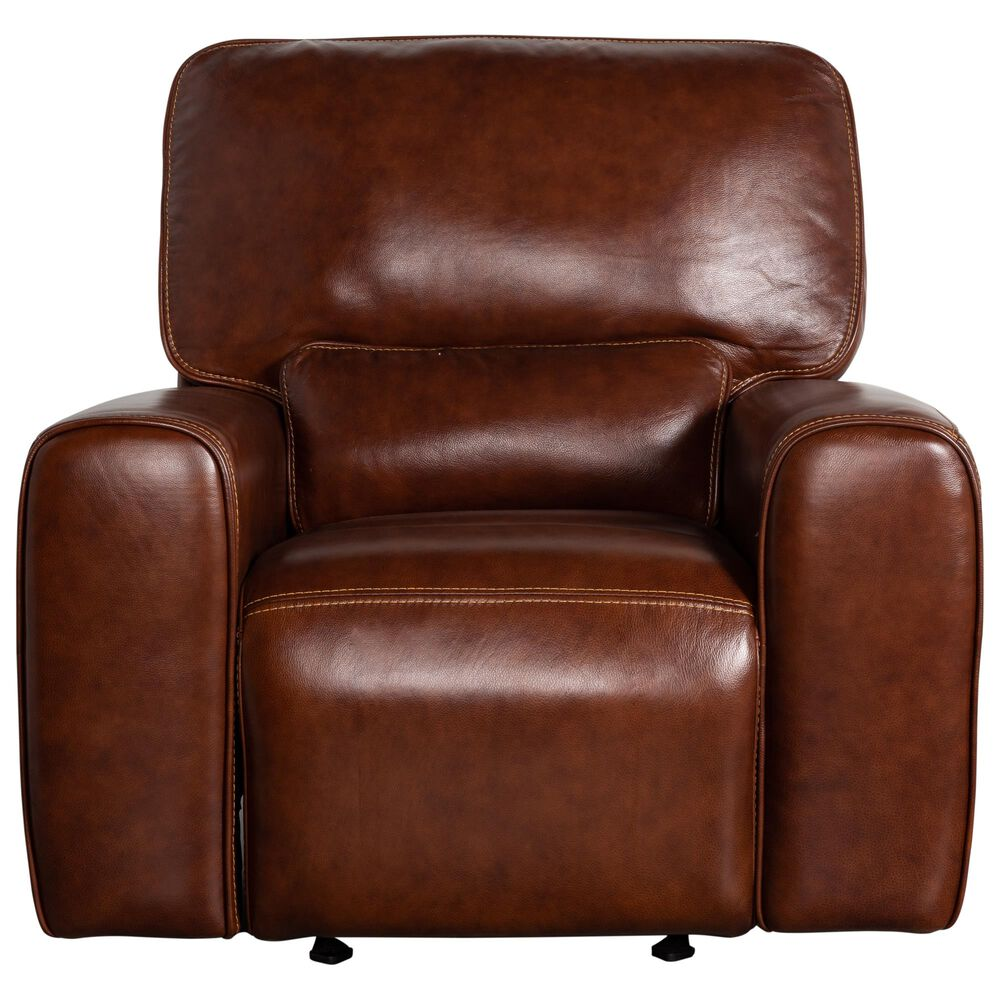 Italiano Furniture Leather Power Gliding Recliner with Power Headrest in Brown, , large