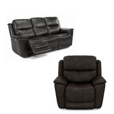 Flexsteel Cade Leather Power Reclining Sofa and Recliner with Power Headrest in Raven, , large