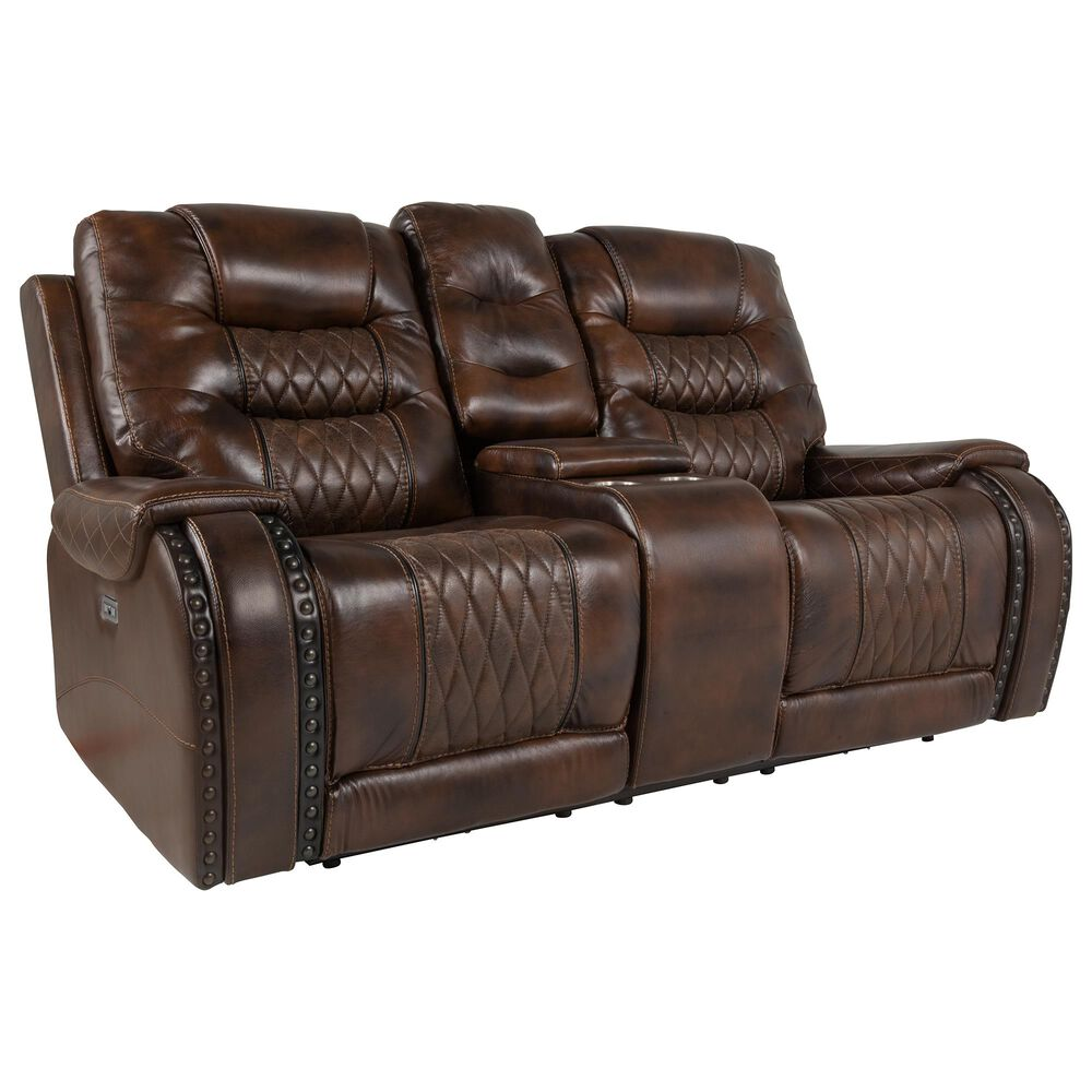 Prime Resources International Rhyme Motion Leather Power Console Loveseat with Headrest in Bronze Walnut, , large