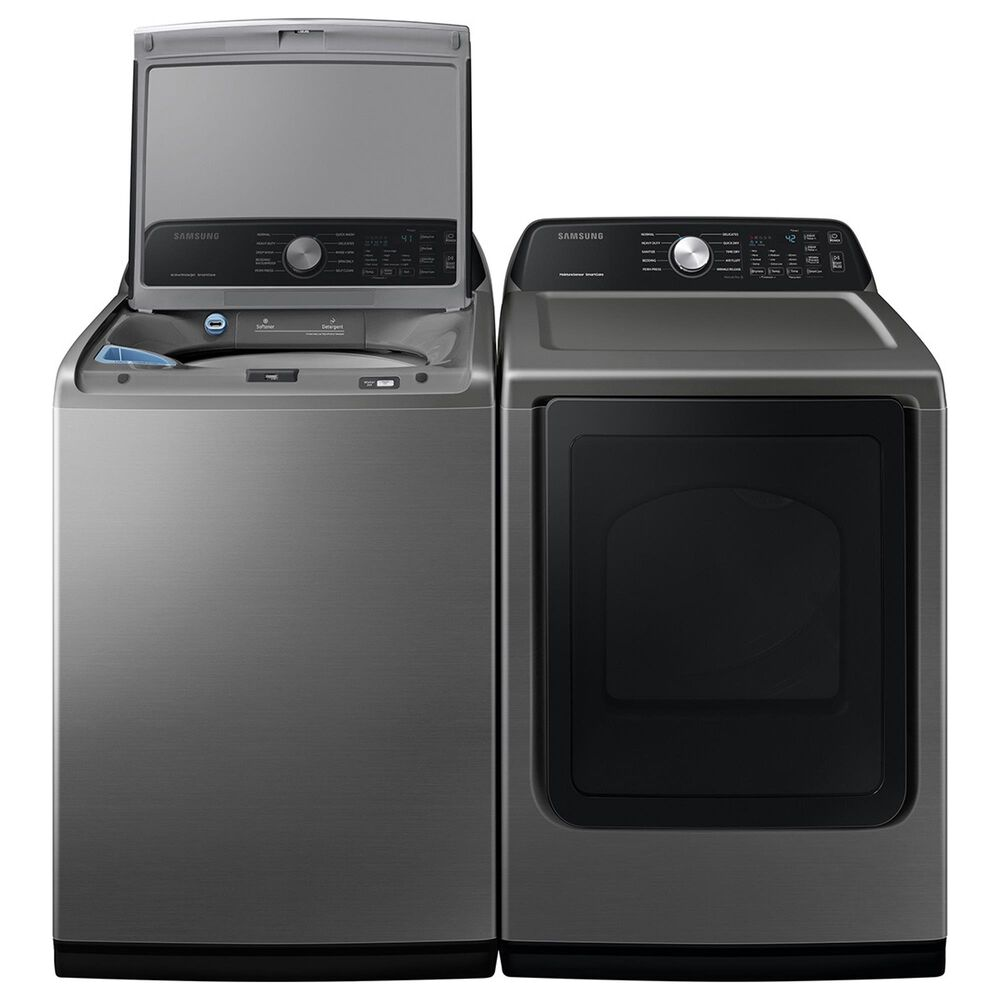 Samsung 4.5 Cu. Ft. Top Load Washer and 7.4 Cu. Ft. Electric Dryer Laundry Pair Sensor Dry and Smart Care in Platinum, , large