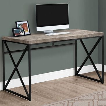 """Monarch Specialties 48"""" Computer Desk in Taupe Reclaimed Wood and Black, , large"""