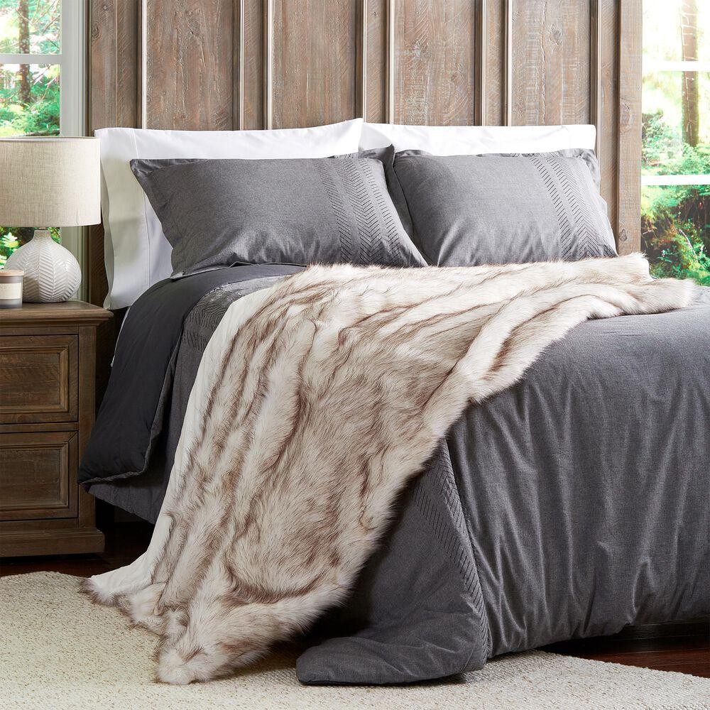 Timberlake Lavish Home Premium Faux Wolf Fur Blanket in Pearl White, , large
