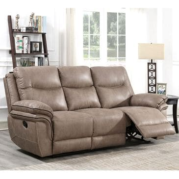 Crystal City Isabella Manual Reclining Sofa in Sand, , large