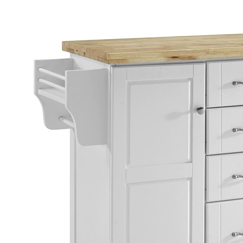 Crosley Furniture Elliott Kitchen Island in White with Wood Top, , large