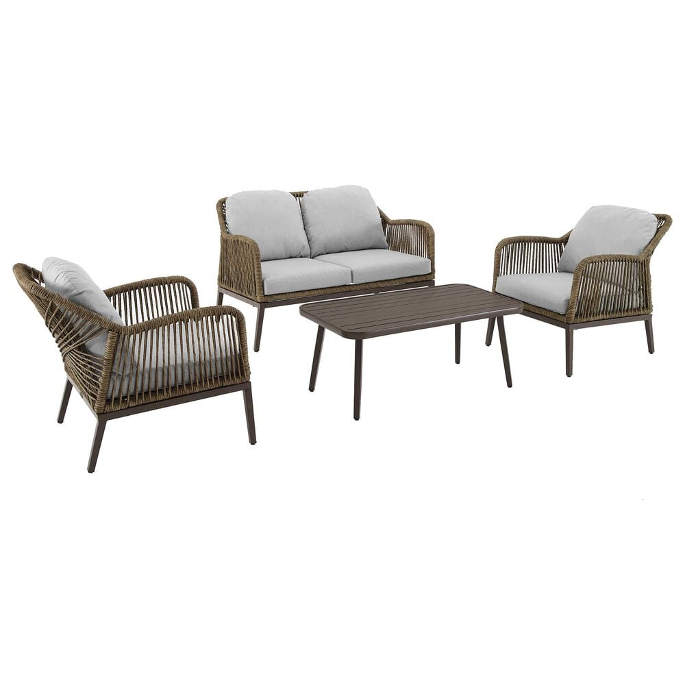Crosley Furniture Haven 4-Piece Patio Conversation Set in Light Gray, , large