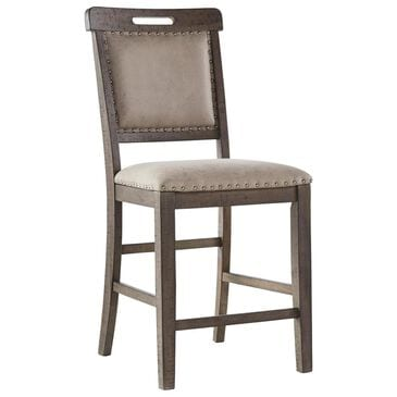Signature Design by Ashley Johurst Upholstered Counter Stool in Grayish Brown, , large