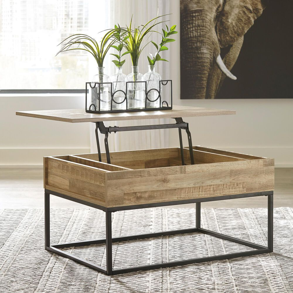 Signature Design by Ashley Gerdanet Lift Top Coffee Table in Natural, , large