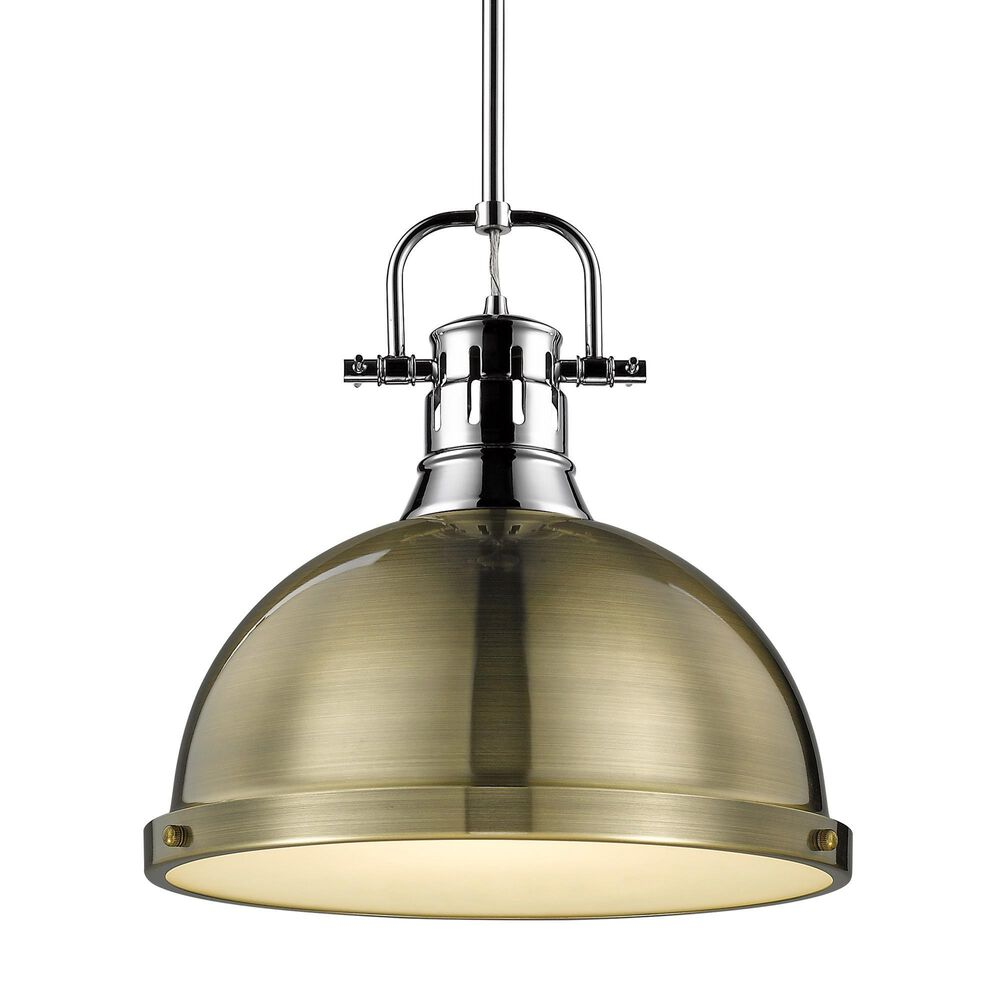 Golden Lighting Duncan Large Pendant with Rod in Chrome and Aged Brass, , large