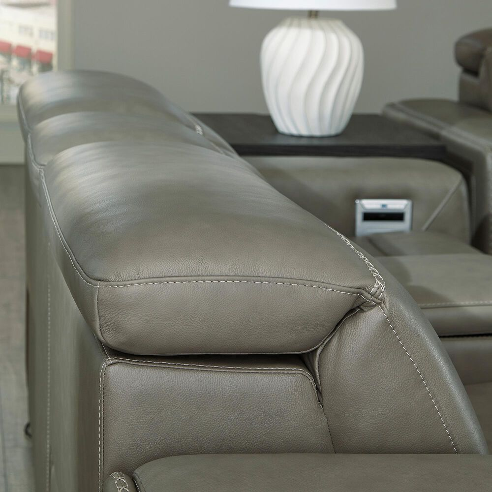 Signature Design by Ashley Correze Power Reclining Loveseat with Console in Gray Leather Match, , large