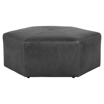 Moda Alchemy Hexi Leather Ottoman in Mont Blanc Iron, , large