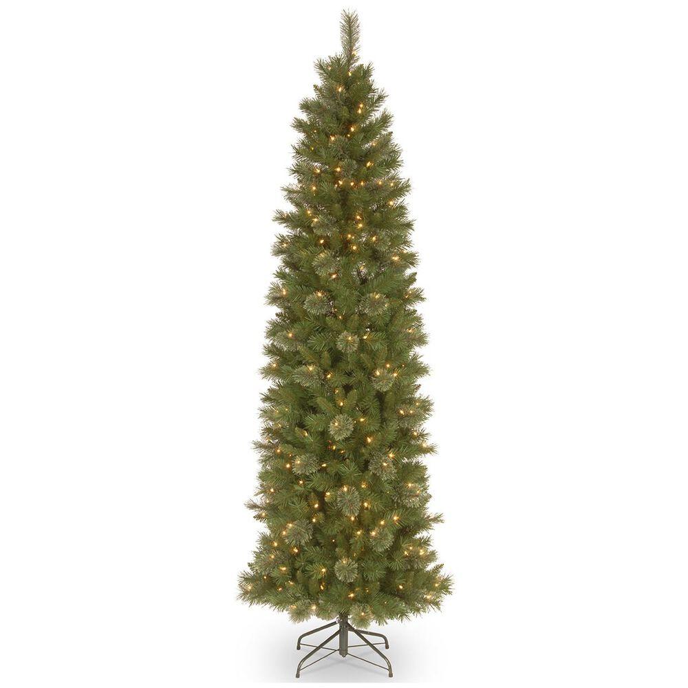 "National Tree 7.5"" Tacoma Pine Pencil Slim Tree with 350 White Lights, , large"