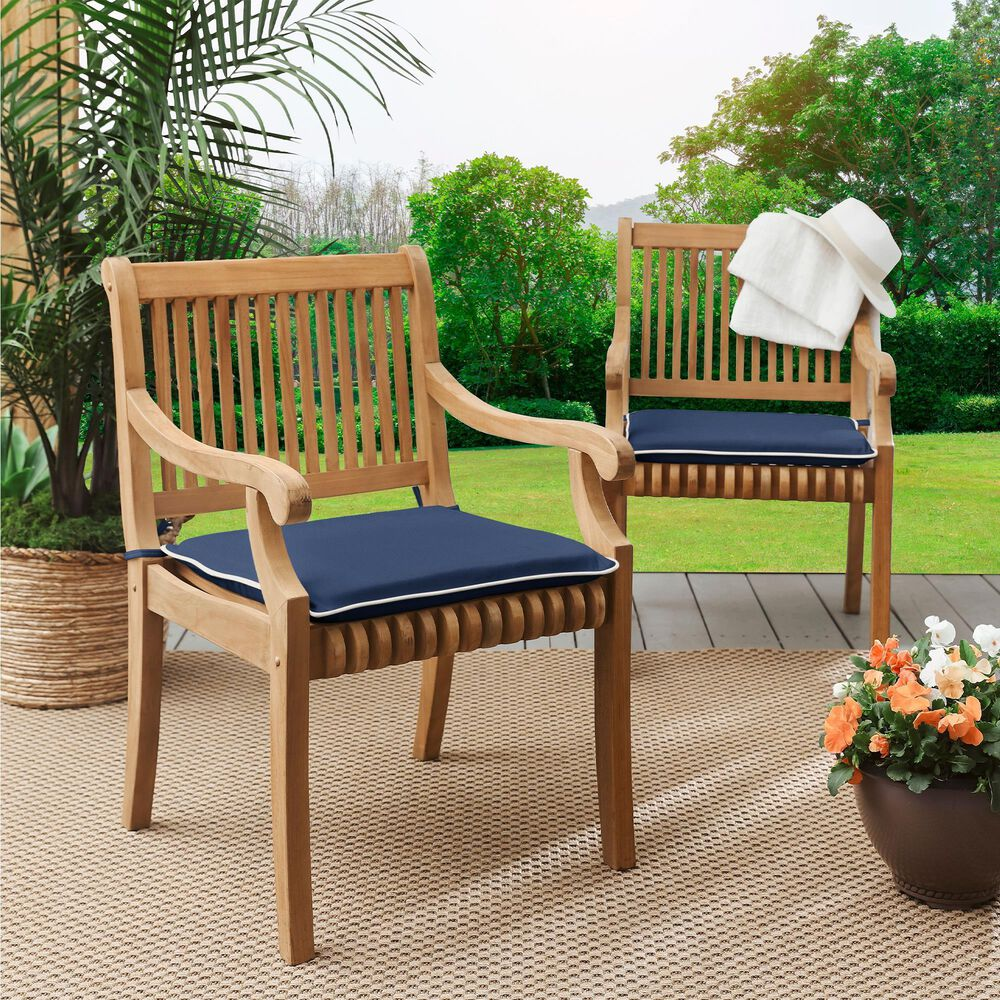 """Sorra Home Sunbrella 17"""" Chair Pad in Canvas Navy (Set of 2), , large"""