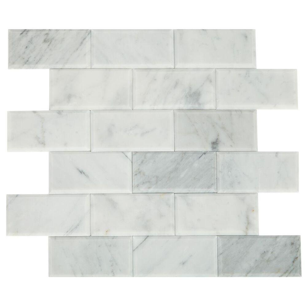 """Dal-Tile SimplyStick Carrara White 12""""x12"""" Bevel Mosaic Sheet, , large"""