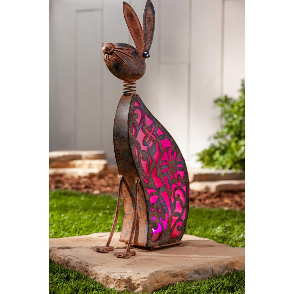 """The Gerson Company 23.03"""" Solar Pink Lighted Garden Rabbit with in Bronze, , large"""