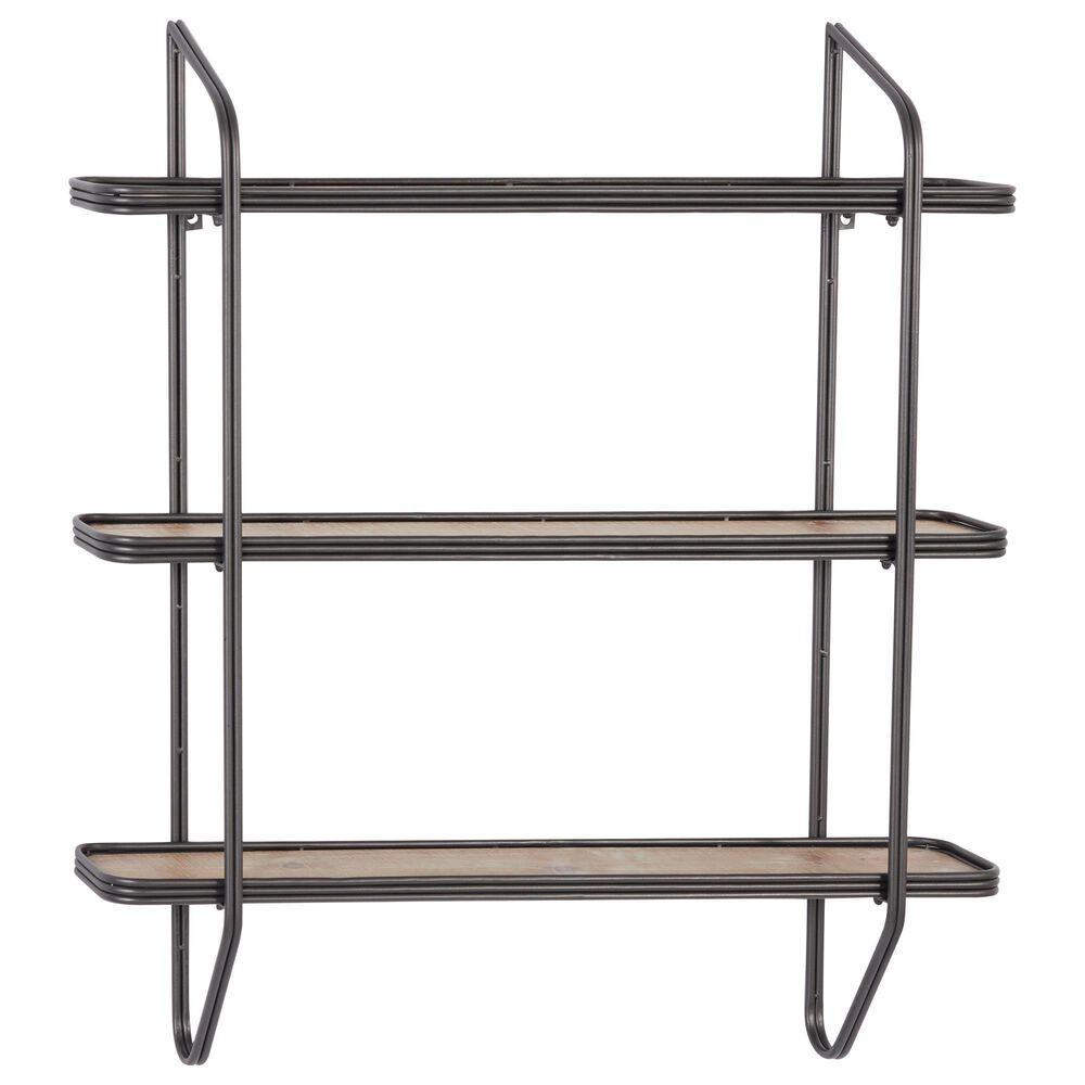 Maple and Jade Industrial Metal Wall Shelf Grey, , large
