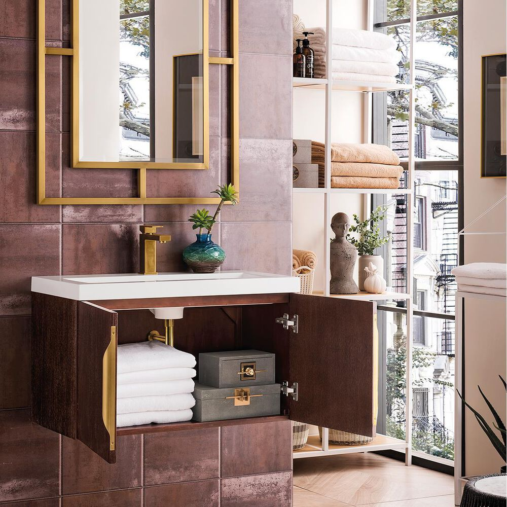 """James Martin 31.5"""" Single Vanity Cabinet in Coffee Oak with White Glossy Solid Surface Top, , large"""