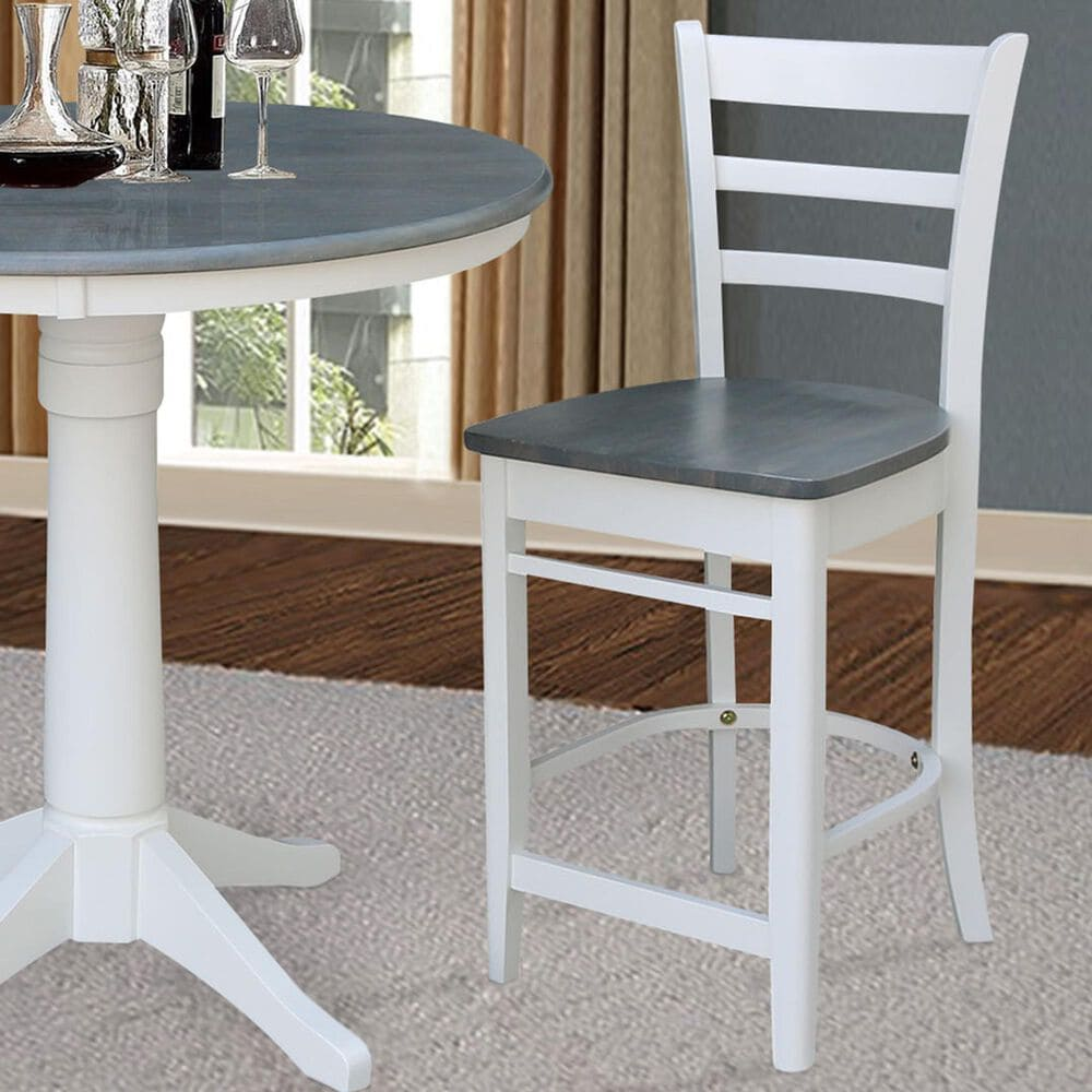 """International Concepts Emily 24"""" Counter Stool in White/Heather Gray, , large"""