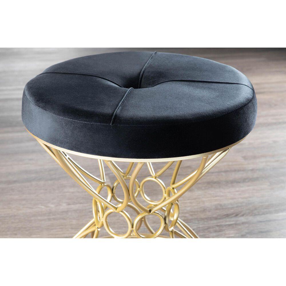 Lumisource Jasmine Vanity Stool in Black and Gold, , large