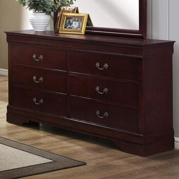 at HOME Louis Philip 6 Drawer Dresser in Cherry, , large
