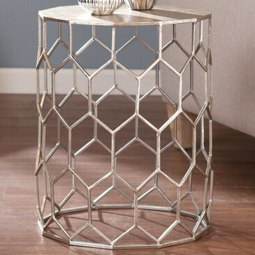 Southern Enterprises Clarissa Accent Table in Antique Silver, , large
