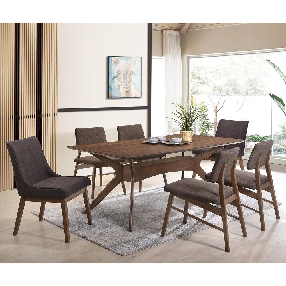 Mayberry Hill Razor 7-Piece Dining Set in Walnut, , large