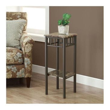 Monarch Specialties Plant Stand in Cappuccino Marble and Bronze, , large