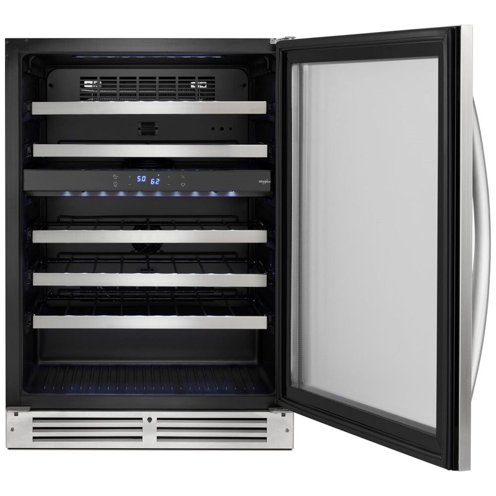 """Whirlpool 24"""" Wide Undercounter Wine Center with 46 Bottle Wine Storage in Stainless Steel , , large"""