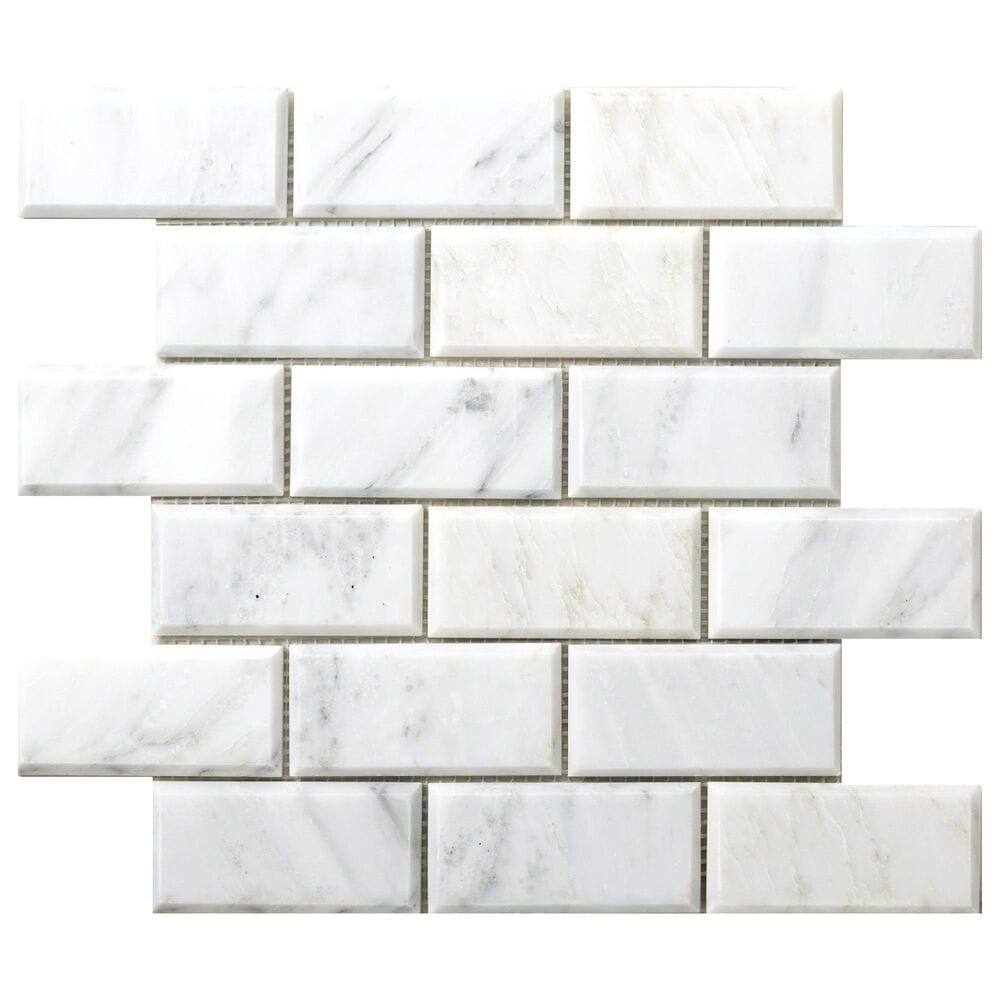 """Emser Winter Frost 2"""" x 4"""" Bevel on 12"""" x 12"""" Marble Mosaic Sheet, , large"""