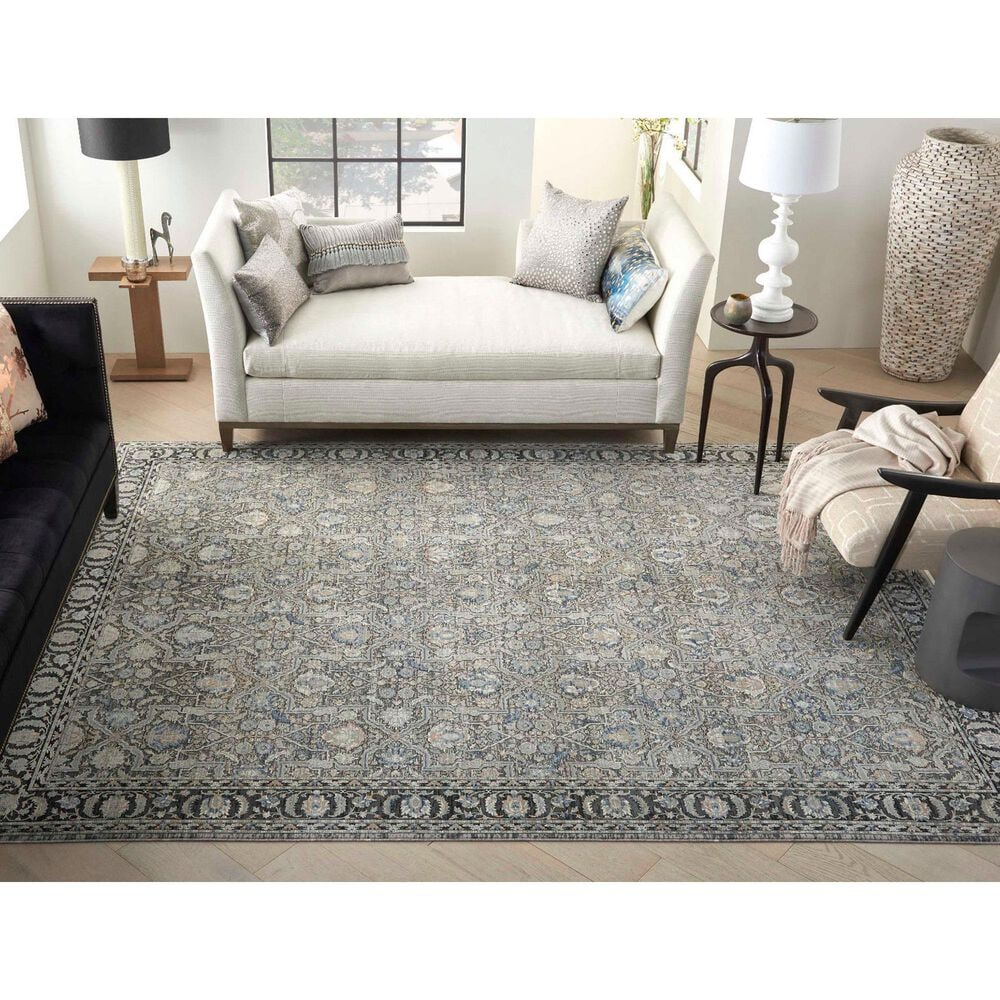 Nourison Starry Nights STN10 8' x 10' Grey and Navy Area Rug, , large