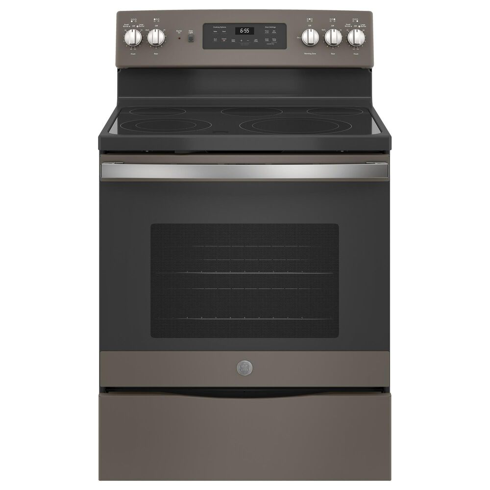 GE Appliances 2-Piece Kitchen Package with 30'' Electric Range and Sensor Microwave Oven in Slate, , large