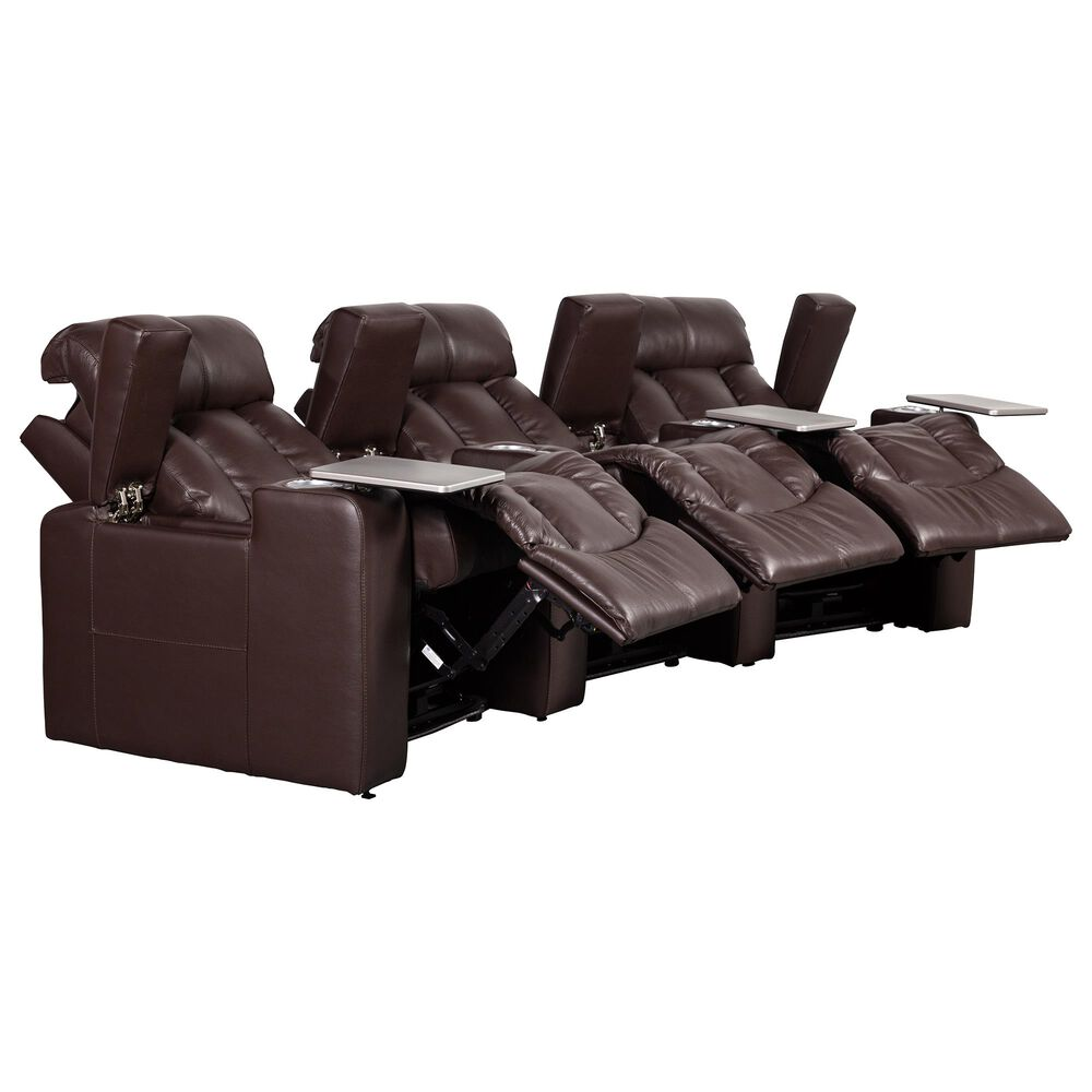 Style Expressions Pargon 3-Piece Leather Power Recliner with Power Headrests in Rein Brown, , large