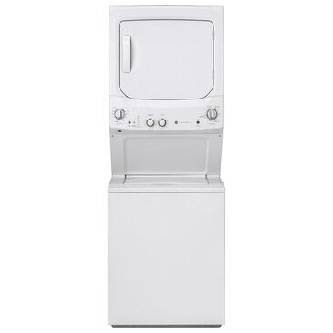 GE Appliances Unitized Spacemaker Gas Stack Laundry in White, , large