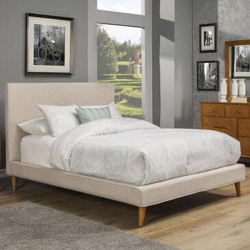 Alpine Furniture Britney California King Platform Bed in Light Grey Linen, , large