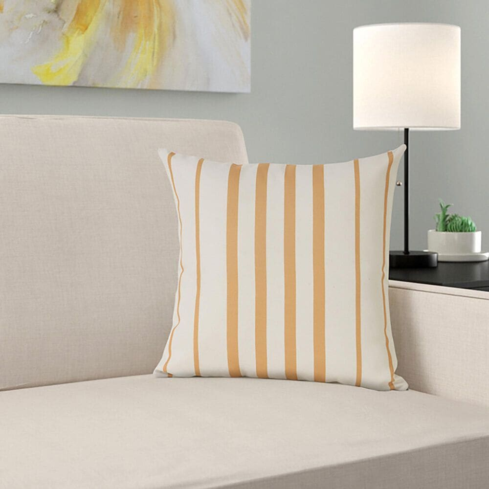 """L.R. RESOURCES 20"""" x 20"""" Stripe Outdoor Pillow in Yellow and White, , large"""