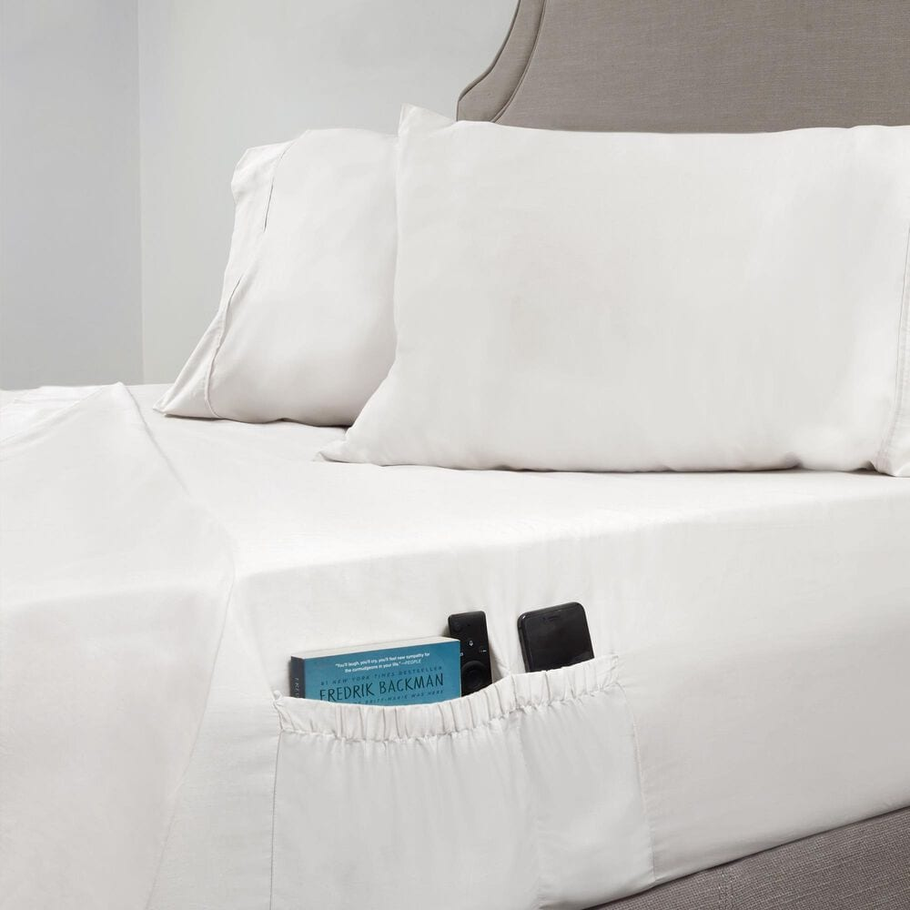 Elite Home Products 310 Thread Count Twin Organic Cotton Sheet Set in White, , large