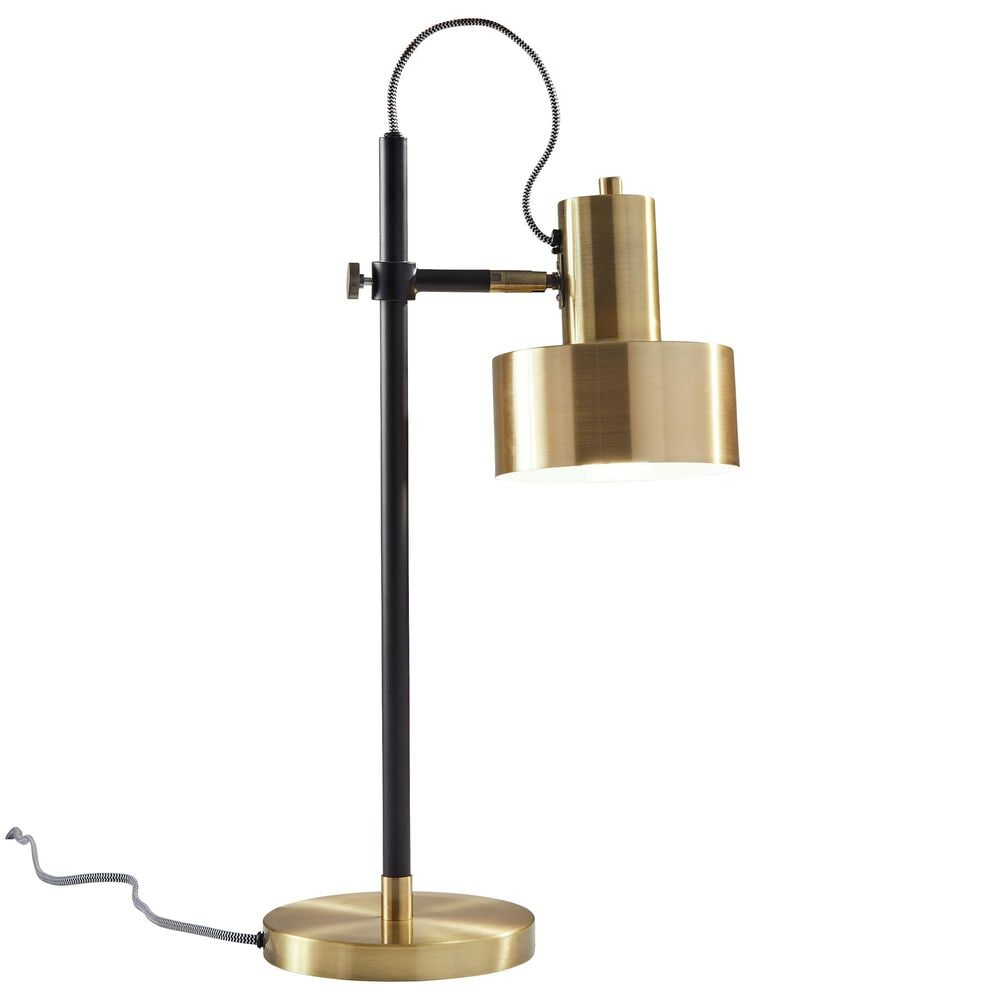 Adesso Clayton Desk Lamp in Matte Black and Antique Brass, , large