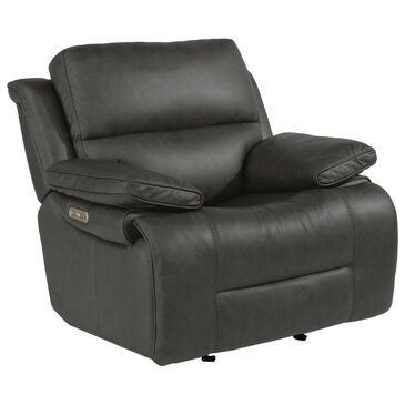 Flexsteel Apollo Leather Power Recliner with Headrest in Gray and Black, , large