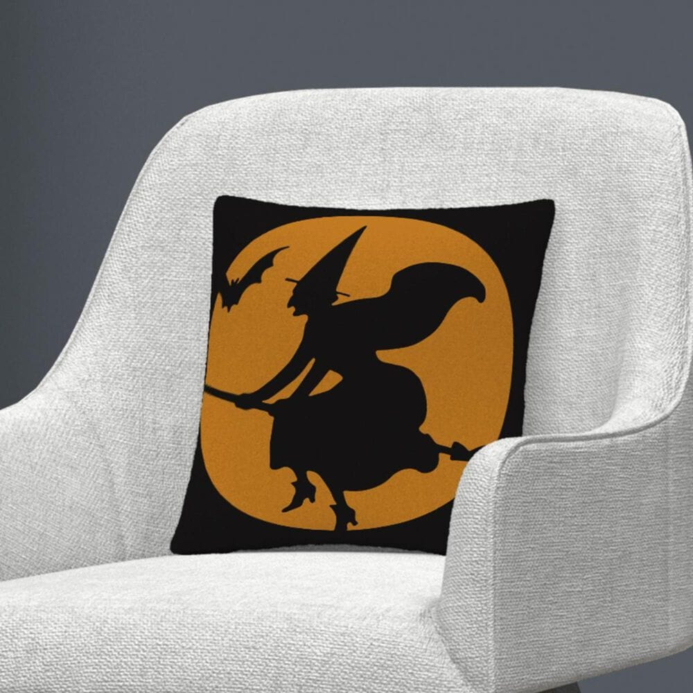 """Timberlake The Witches Broom Over Orange Moon Halloween By ABC 16"""" Decorative Throw Pillow, , large"""