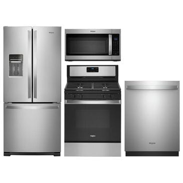 """Whirlpool 4-Piece Kitchen Package with 30"""" French Door Refrigerator and Gas Range in Stainless Steel, , large"""